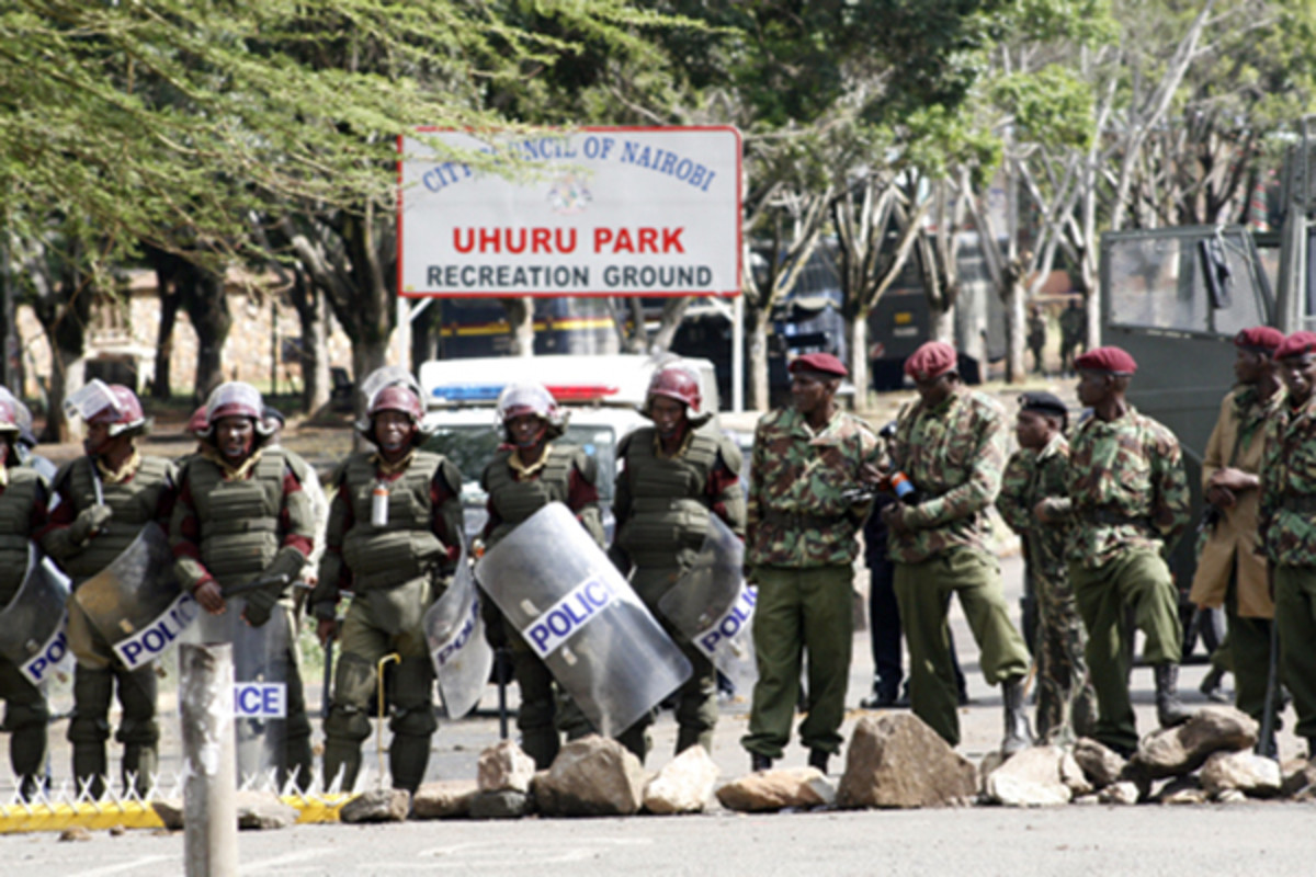 Police cordon off Uhuru Park to bar opposition from holding a mass protest rally. (PHOTO: DEMOSH/WIKIMEDIA COMMONS)