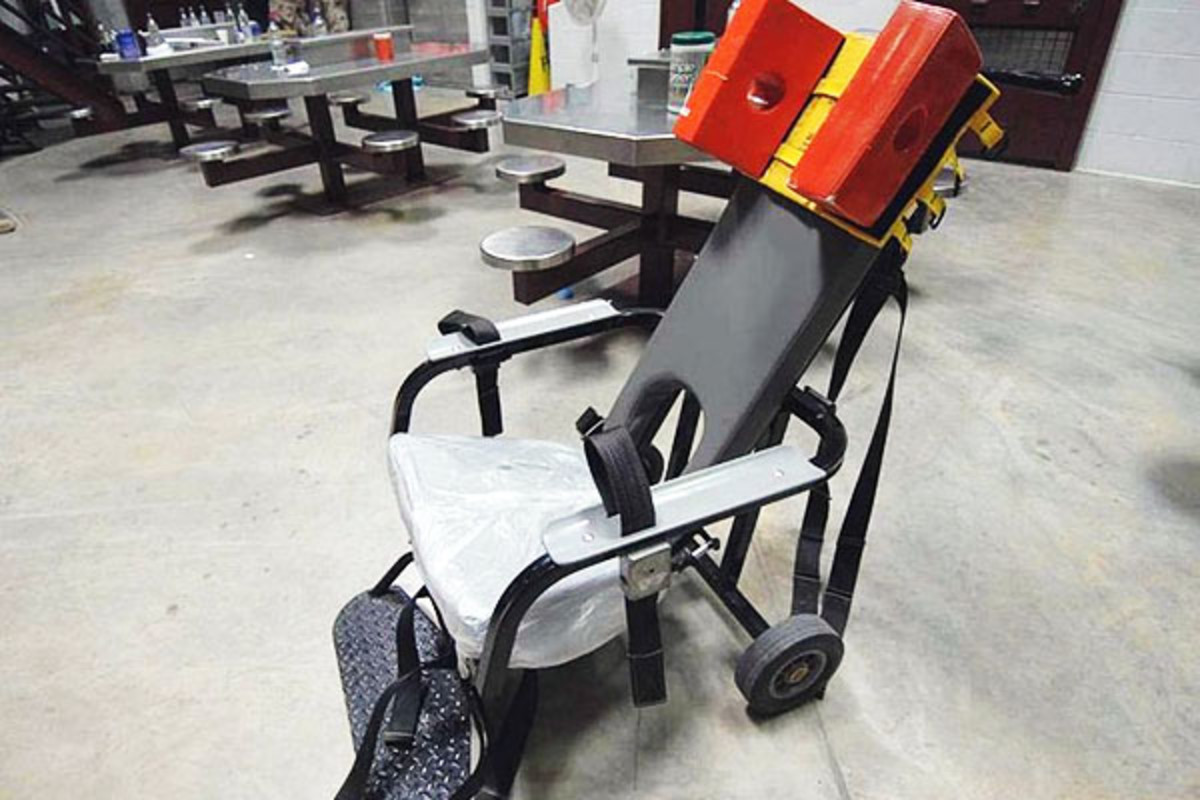 The type of restraint chair used for feeding at Guantanamo Bay. (PHOTO: PUBLIC DOMAIN)