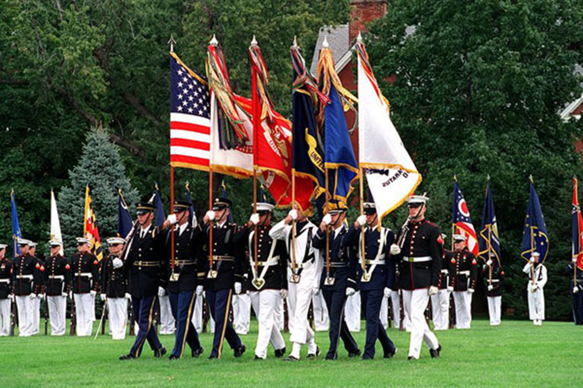 The U.S. Joint Service Color Guard on parade at Fort Myer, Virginia, in October 2001. (PHOTO: PUBLIC DOMAIN)
