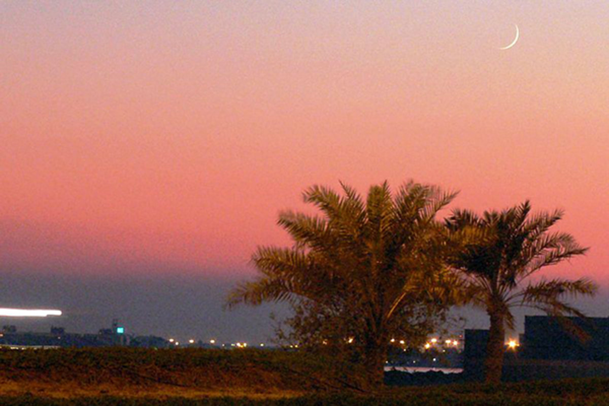 A crescent moon can be seen over palm trees at sunset in Manama, marking the beginning of the Islamic month of Ramadan in Bahrain. (PHOTO: AHMED RABEA/WIKIMEDIA COMMONS)