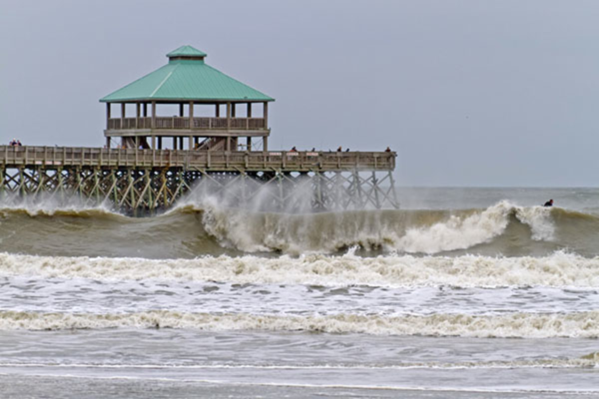 Hurricane Sandy causes high waves around the pier at Folly Beach South Carolina, on October 26, 2012. (PHOTO: J. BICKING/SHUTTERSTOCK)