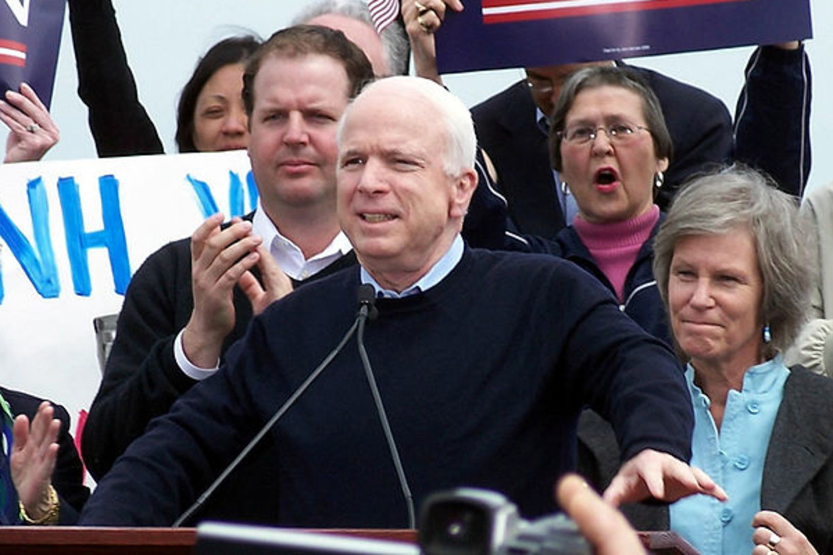 John McCain formally announcing his intention to run for the presidency in Portsmouth, New Hampshire, in 2007. (PHOTO: RIVER BISSONNETTE)