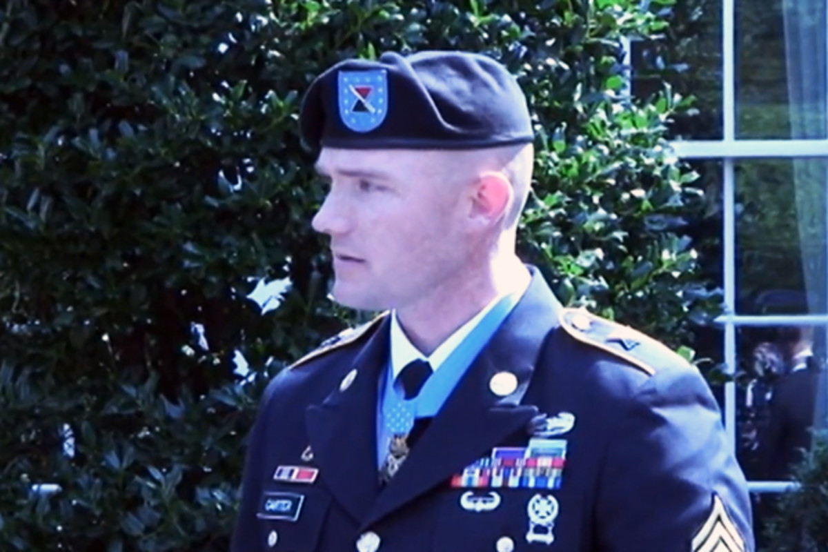 Staff Sgt. Ty Carter speaking at a ceremony awarding him the Congressional Medal of Honor. (PHOTO: YOUTUBE)