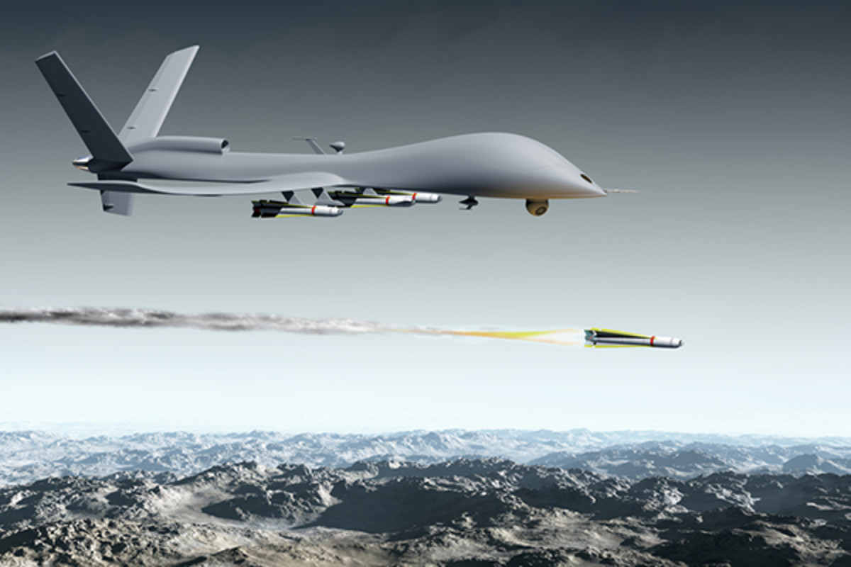 A drone aircraft launching an air-to-ground missile. (ILLUSTRATION: PAUL FLEET/SHUTTERSTOCK)