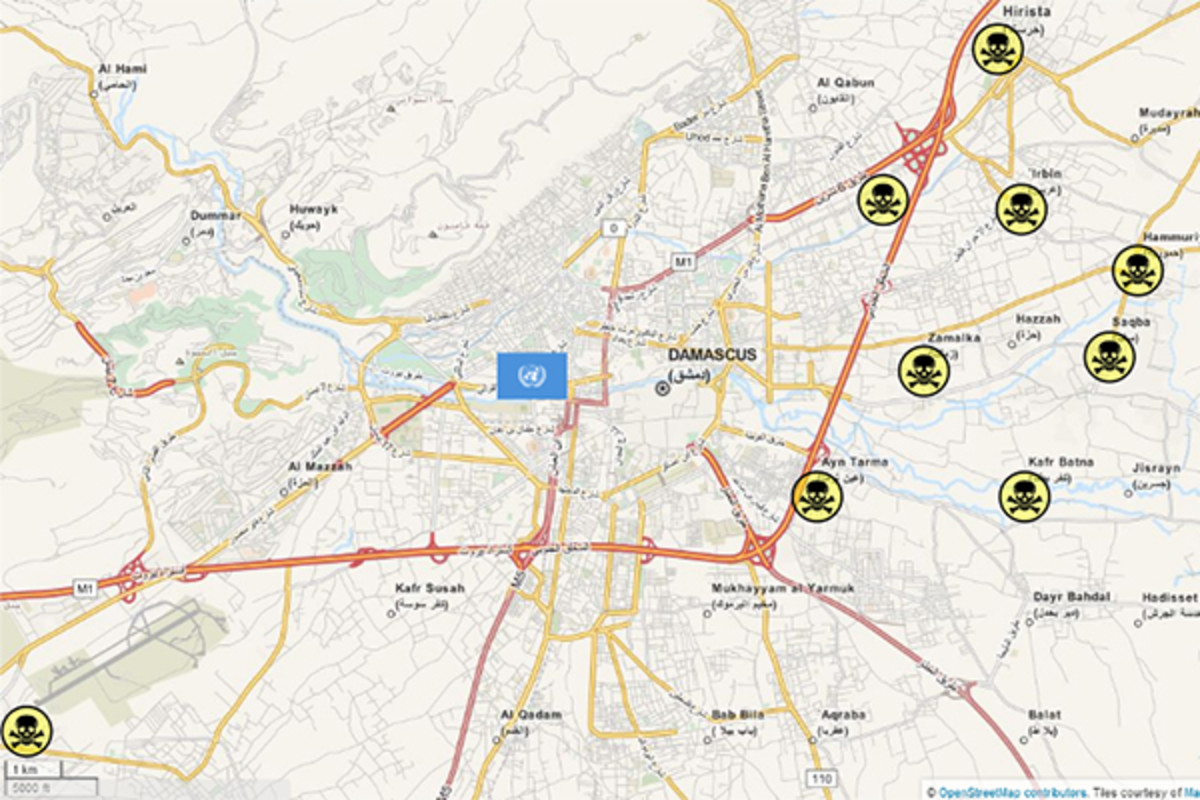 Map of areas affected by the alleged chemical attack in Syria and the location of the U.N. inspection team's hotel during the attack. (MAP: FUTURETRILLIONAIRE/WIKIMEDIA COMMONS)
