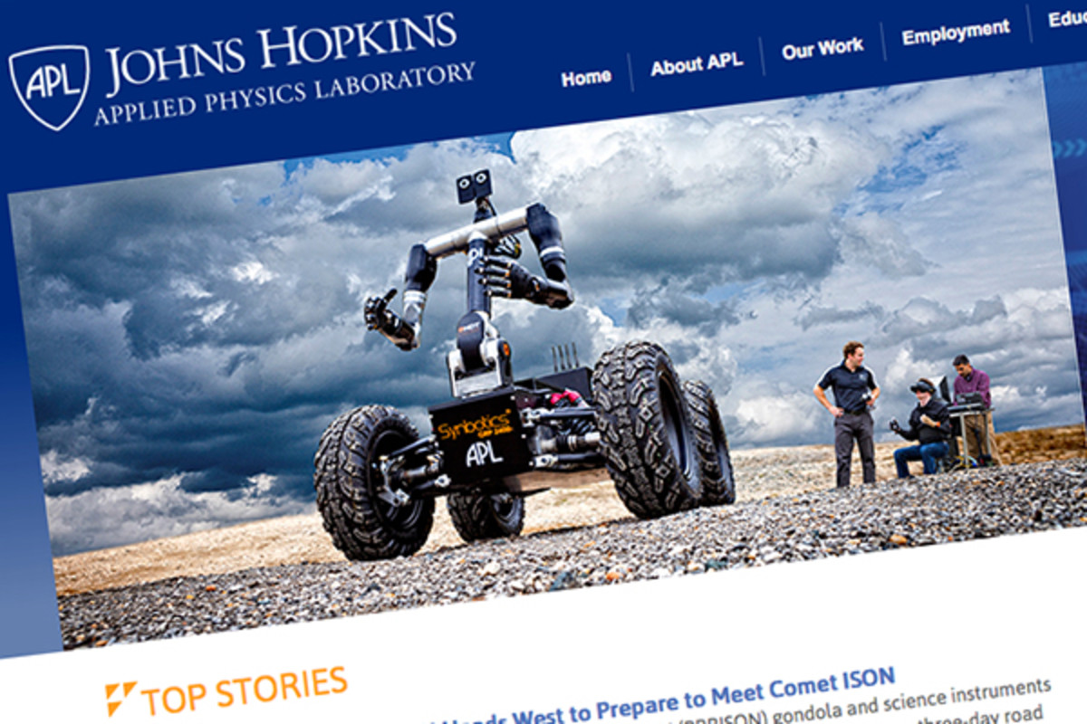 The website for John Hopkins University's Applied Physics Laboratory. (PHOTO: SCREENSHOT)