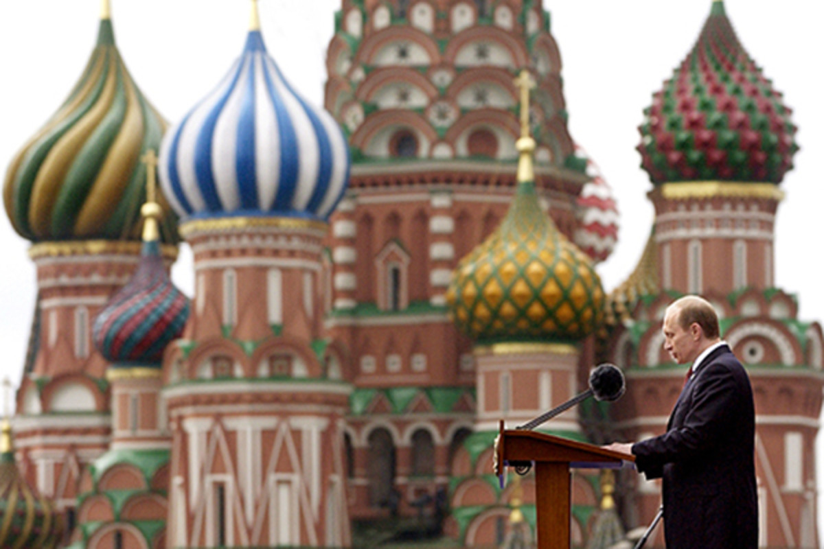 Putin speaking at the 2005 Victory Day Parade on Red Square. Saint Basil's Cathedral is on the background. (PHOTO: COURTESY OF THE RUSSIAN FEDERATION)