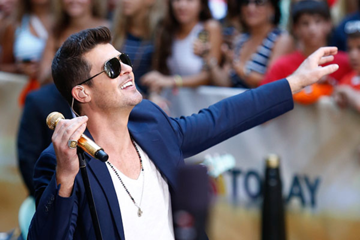Singer Robin Thicke performs on NBC's Today Show at Rockefeller Plaza on July 30, 2013, in New York City.