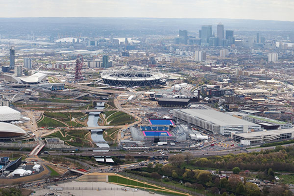 Aerial view of the Olympic Park in April 2012. (PHOTO: BALDBORIS/WIKIMEDIA COMMONS)