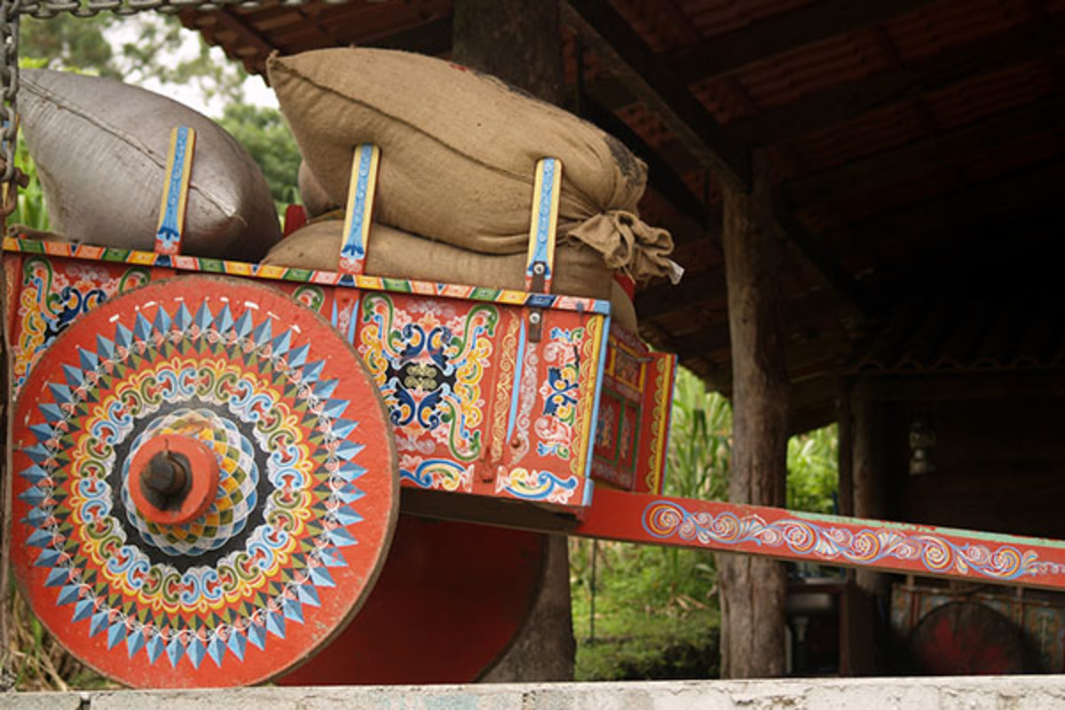Costa Rican ox-cart loaded with coffee bags.
