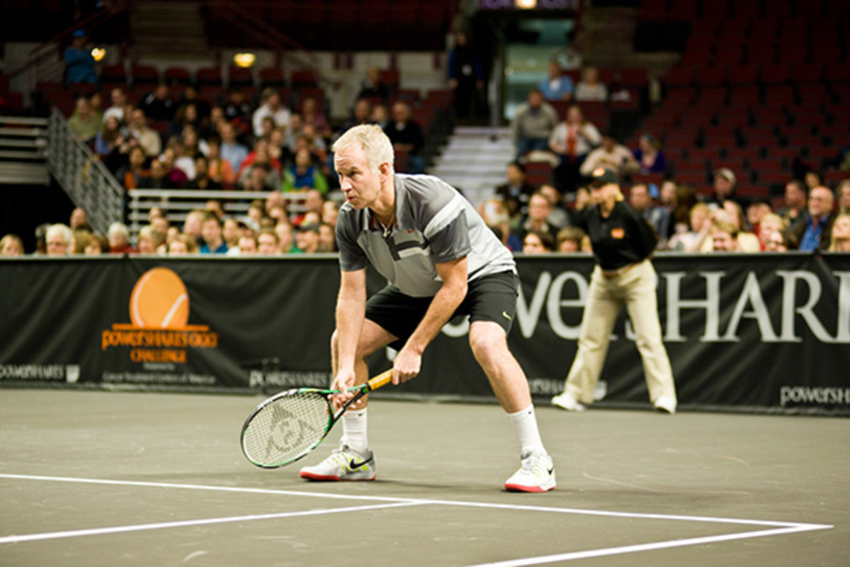 John McEnroe on October 17, 2012, competing in the 2012 Powershares QQQ Challenge at the United Center in Chicago. (PHOTO: MAXHPHOTO/SHUTTERSTOCK)