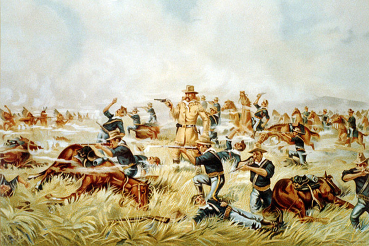 An 1899 chromolithograph from the Werner Company of Akron, Ohio entitled Custer Massacre at Big Horn, Montana. (ART: PUBLIC DOMAIN)