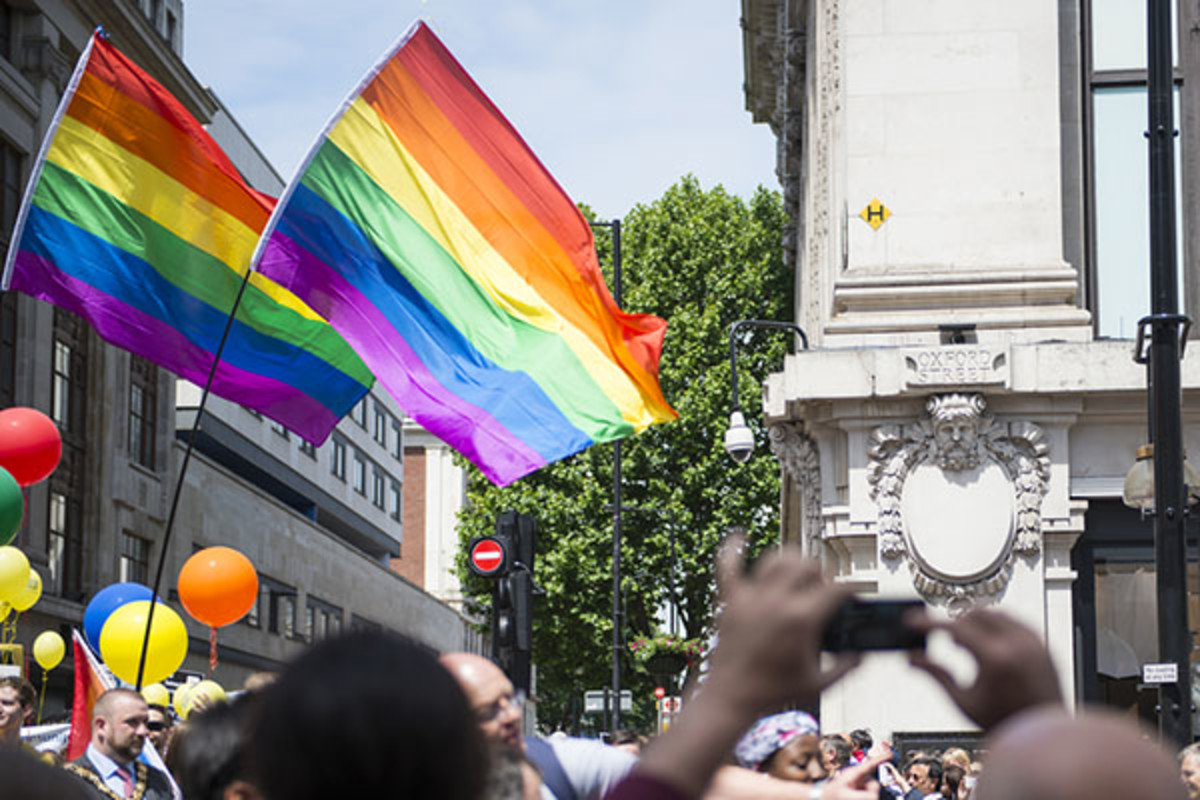 Participants at gay pride on London's Baker Street. (PHOTO: NANDO MACHADO / SHUTTERSTOCK)