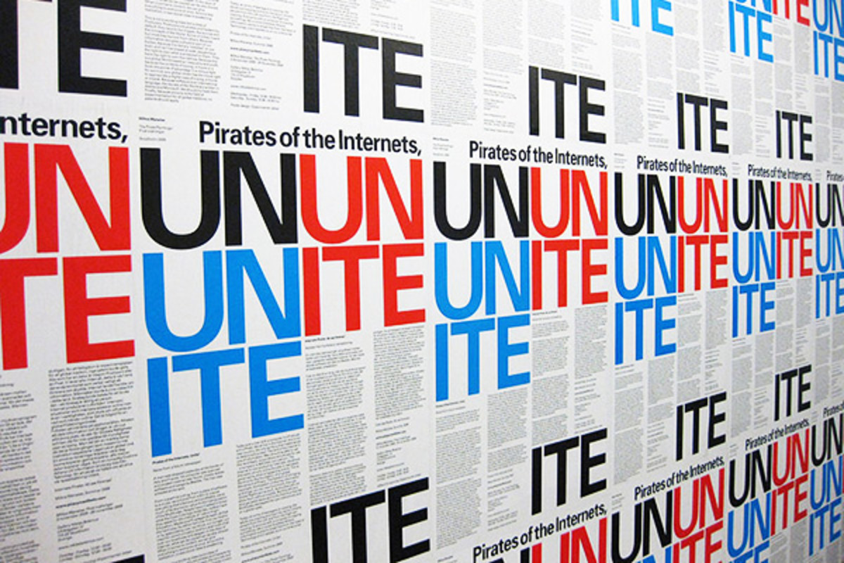 Piracy manifesto installation by Miltos Manetas, design by Experimental Jetset. (PHOTO: PUBLIC DOMAIN)