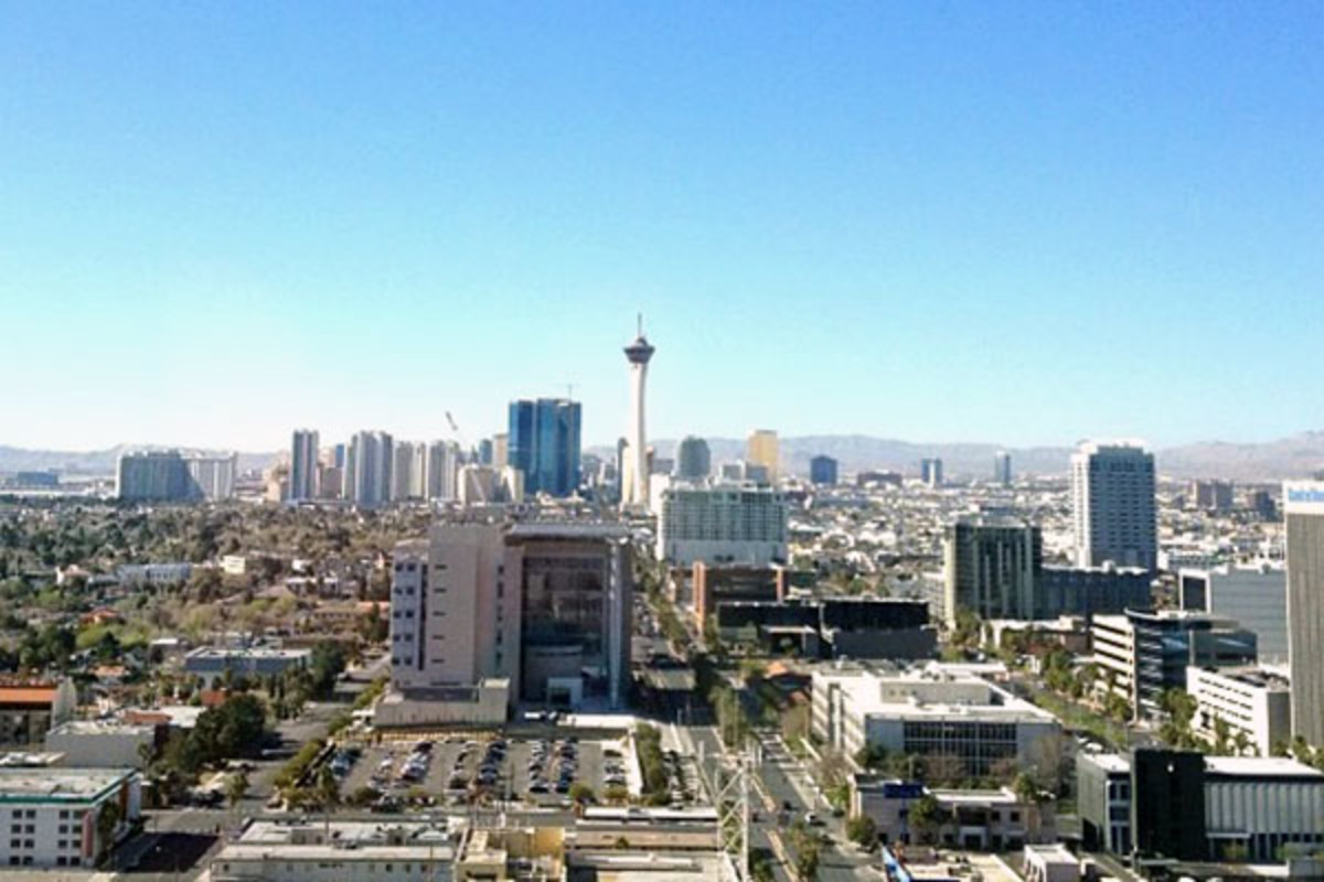 The downtown Las Vegas skyline looking south, with the Las Vegas Valley in the background. (PHOTO: BPORTER28/WIKIMEDIA COMMONS)