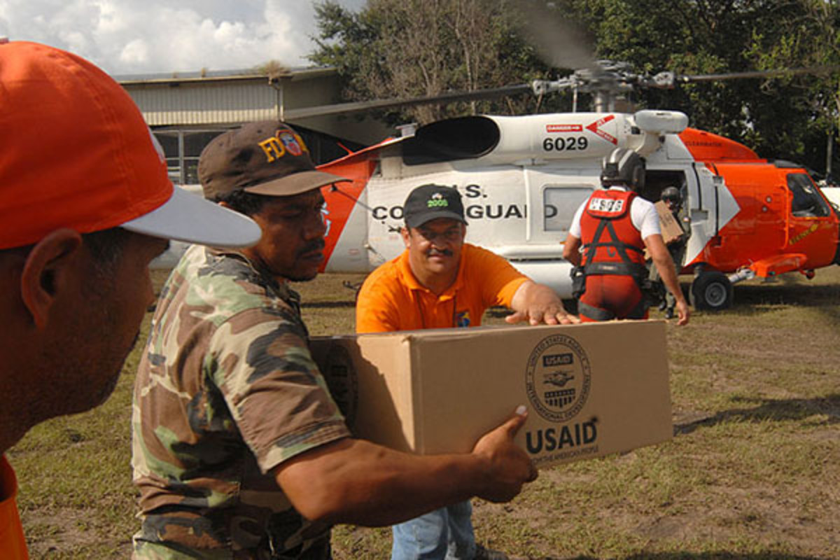 USAID Packages are delivered by United States Coast Guard personnel. (PHOTO: PUBLIC DOMAIN)