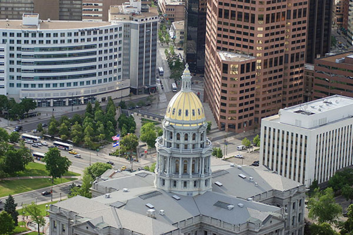 Aerial view of the Colorado State Capitol. (PHOTO: JOHN MAUSHAMMER/WIKIMEDIA COMMONS)