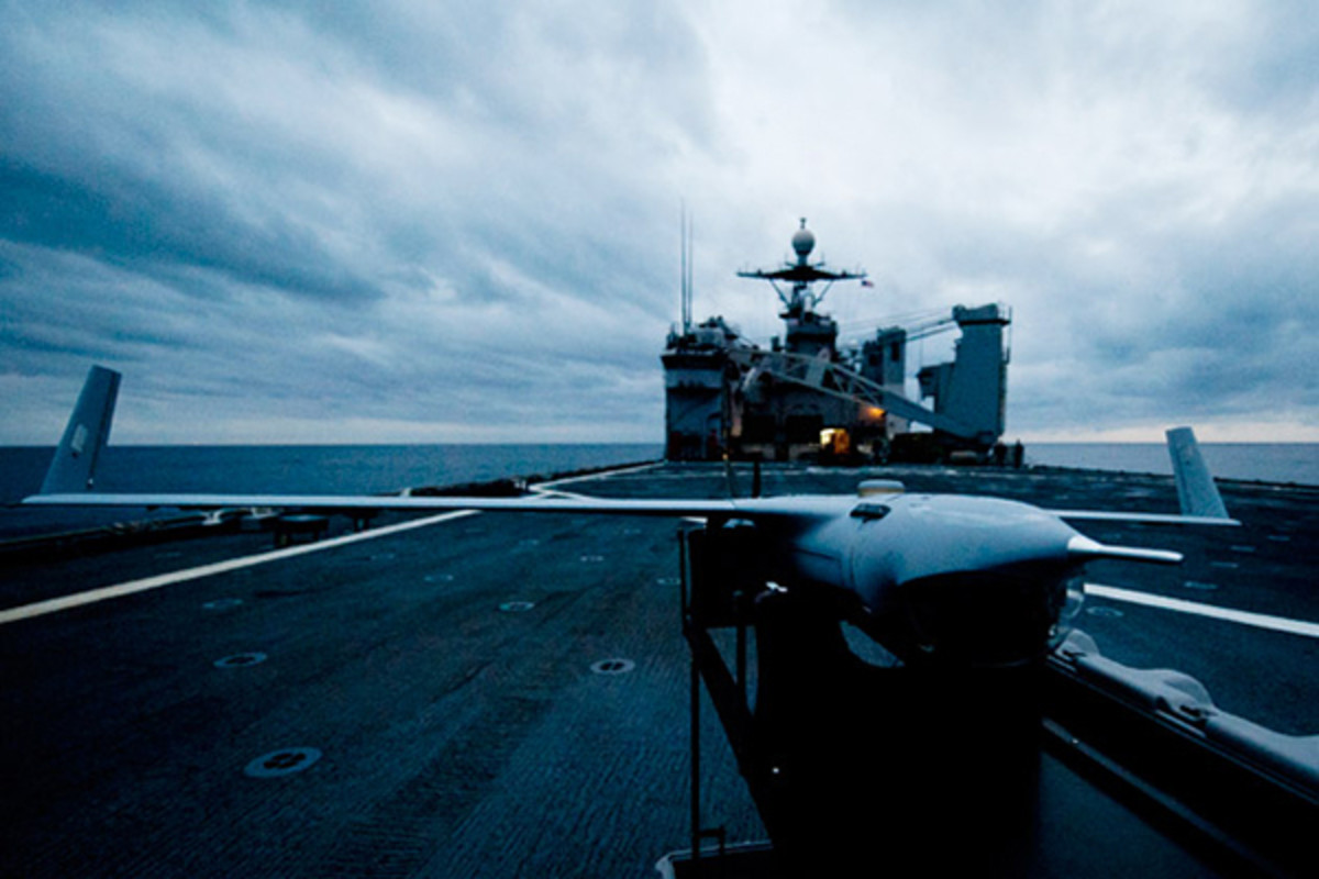 A Scan Eagle unmanned aerial vehicle sits on the flight deck of the USS Gunston Hall in February 2012. (PHOTO: COURTESY OF THE U.S. NAVY)