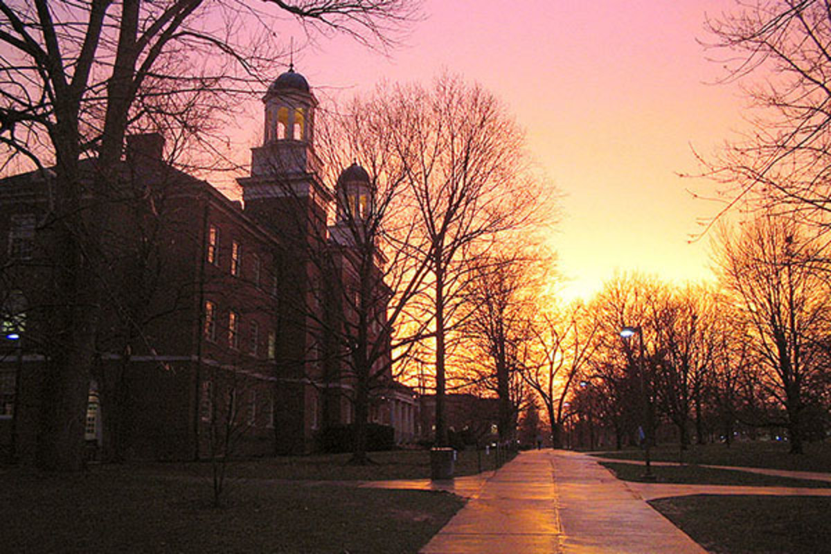 Miami University's Harrison Hall at sunset. (PHOTO: PUBLIC DOMAIN)
