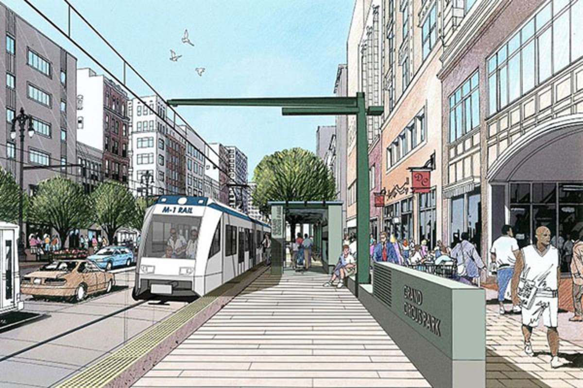 Artist's rendering of the Grand Circus Park station for the M-1 Rail project in Detroit, Michigan. (PHOTO: PUBLIC DOMAIN)