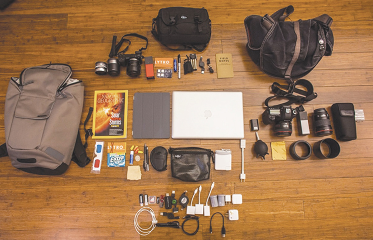 TheVerge.com showcases the contents of media and tech workers' bags weekly—including the innards of Eric Cheng's bag. Cheng is the director of photography at the camera company Lytro. (Photo: Courtesy of The Verge)