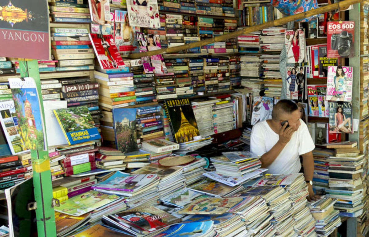 A bookseller in Yangon, Myanmar. (Photo: huongson/Shutterstock)