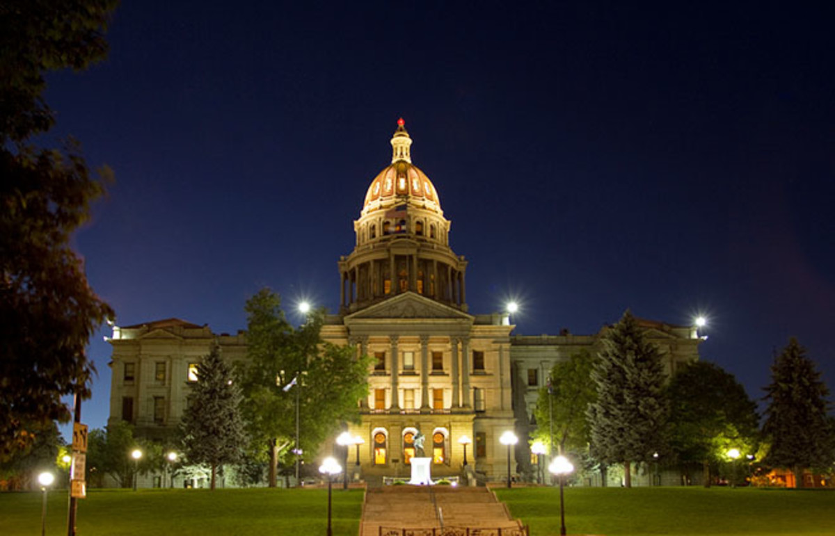 Colorado State Capitol Building in Denver, at night. (Photo: EdgeOfReason/Shutterstock)