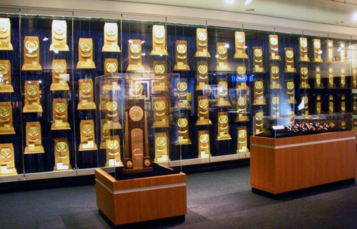 NCAA National Championship trophies, rings, and watches won by University of California-Los Angeles teams. (Photo: Ucla90024/Wikimedia Commons)