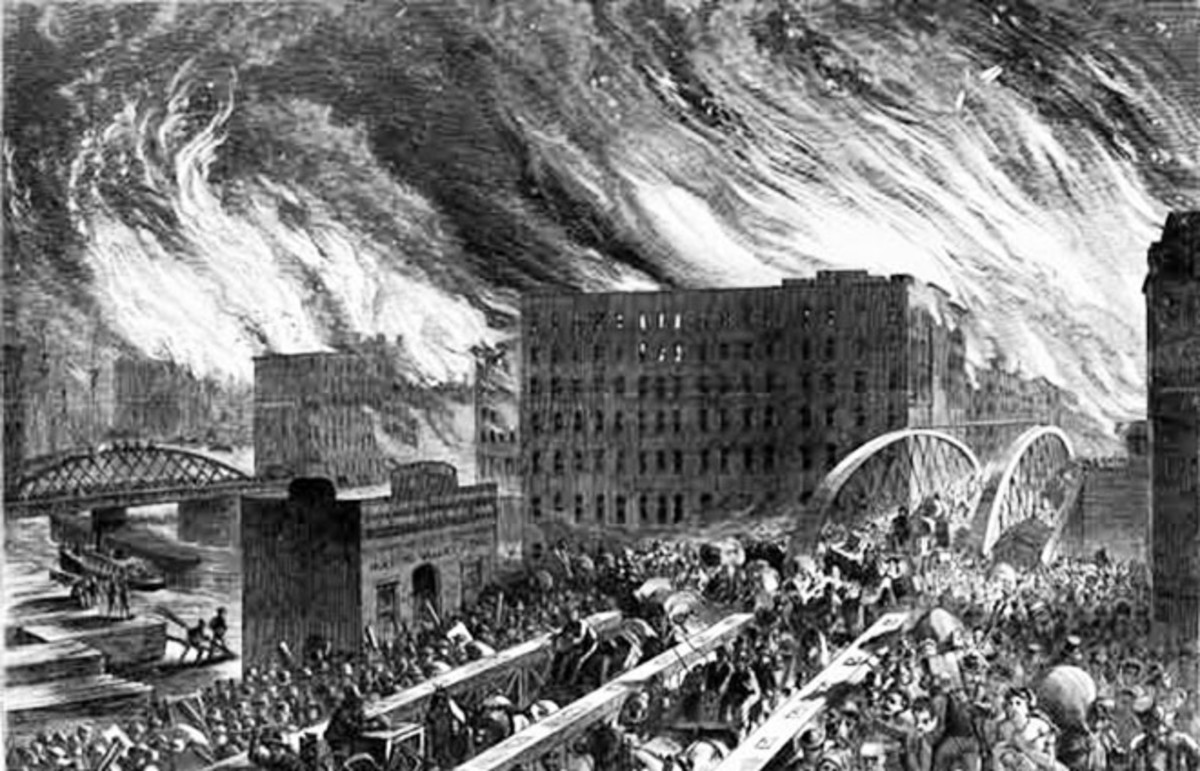 An artist's rendering of the Great Chicago Fire of 1871. (Photo: Public Domain)