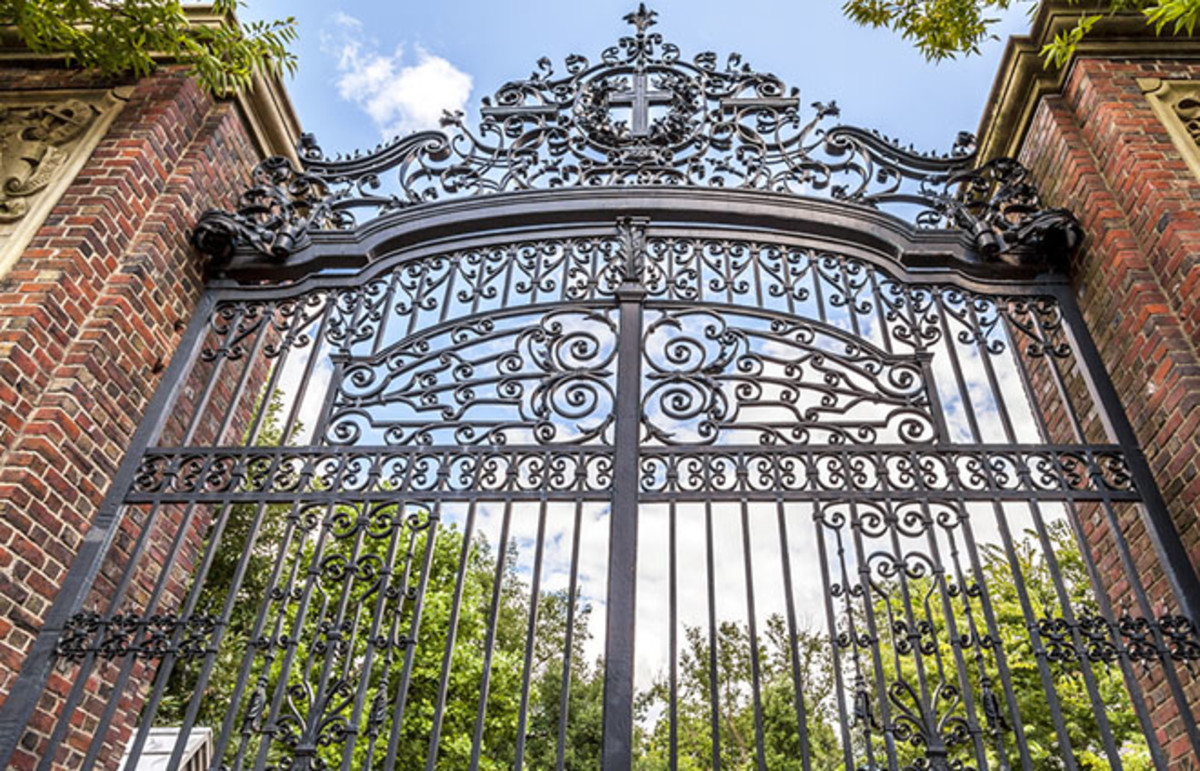 Harvard University's iron gate in Cambridge, Massachusett. (Photo: Marcio Jose Bastos Silva/Shutterstock)