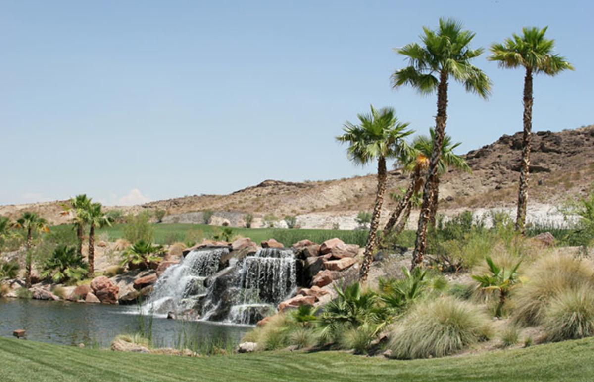 Waterfall and palm trees in Arizona. (Photo: MaxFX/Shutterstock)