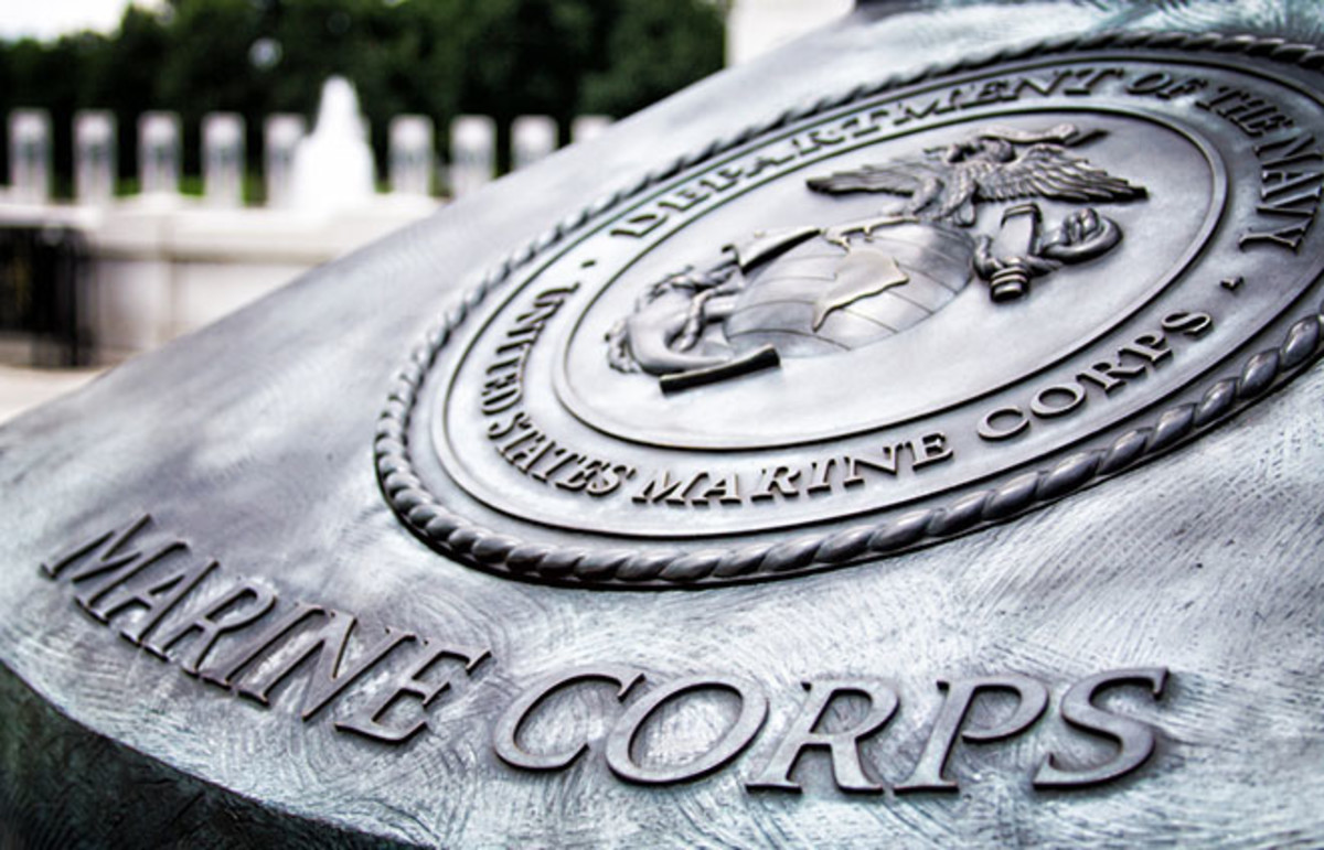Marine Corps insignia at a World War II memorial. (Photo: RX2 Photography/Shutterstock)