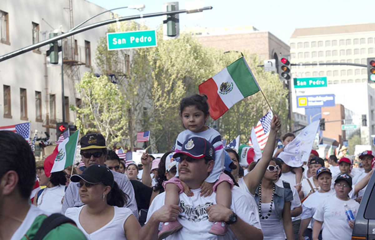 Chicanas/os march in San Jose, California. (Photo: z2amiller/Wikimedia Commons)