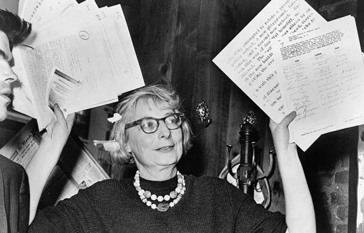 Jane Jacobs, then chairperson of a civic group in Greenwich Village, at a press conference in 1961. (Photo: Public Domain)