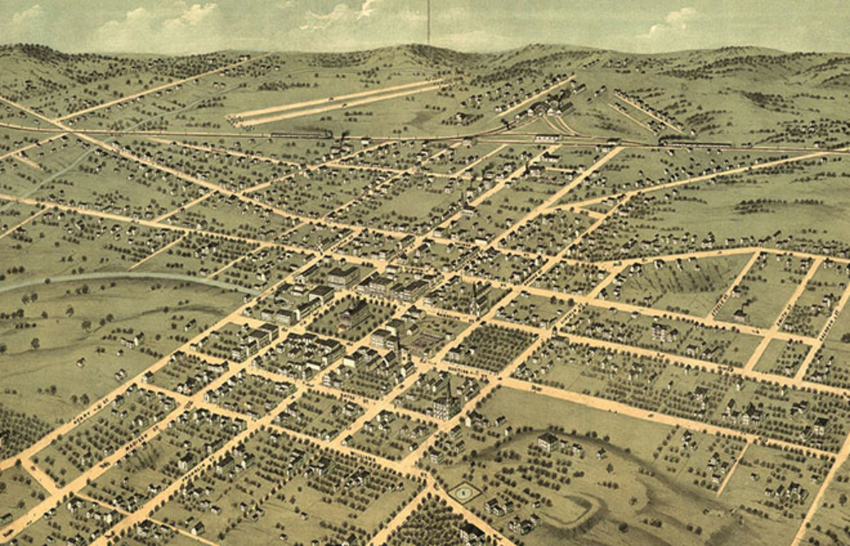 Bird's-eye view of 1871 Huntsville, Alabama. (Photo: Public Domain)