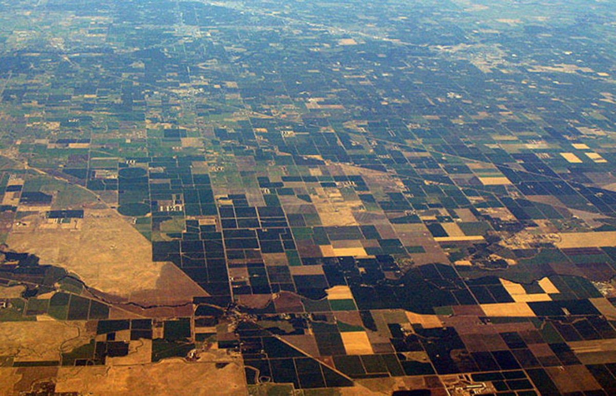 Part of California's Central Valley as seen from the air. (Photo: Californiacentralvalley/Wikimedia Commons)