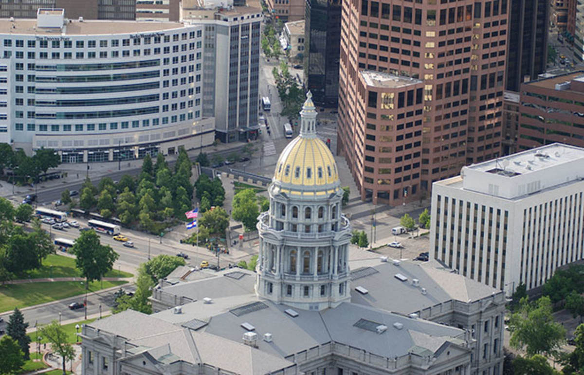 Aerial view of the Colorado State Capitol Building. (Photo: John Maushammer/Wikimedia Commons)