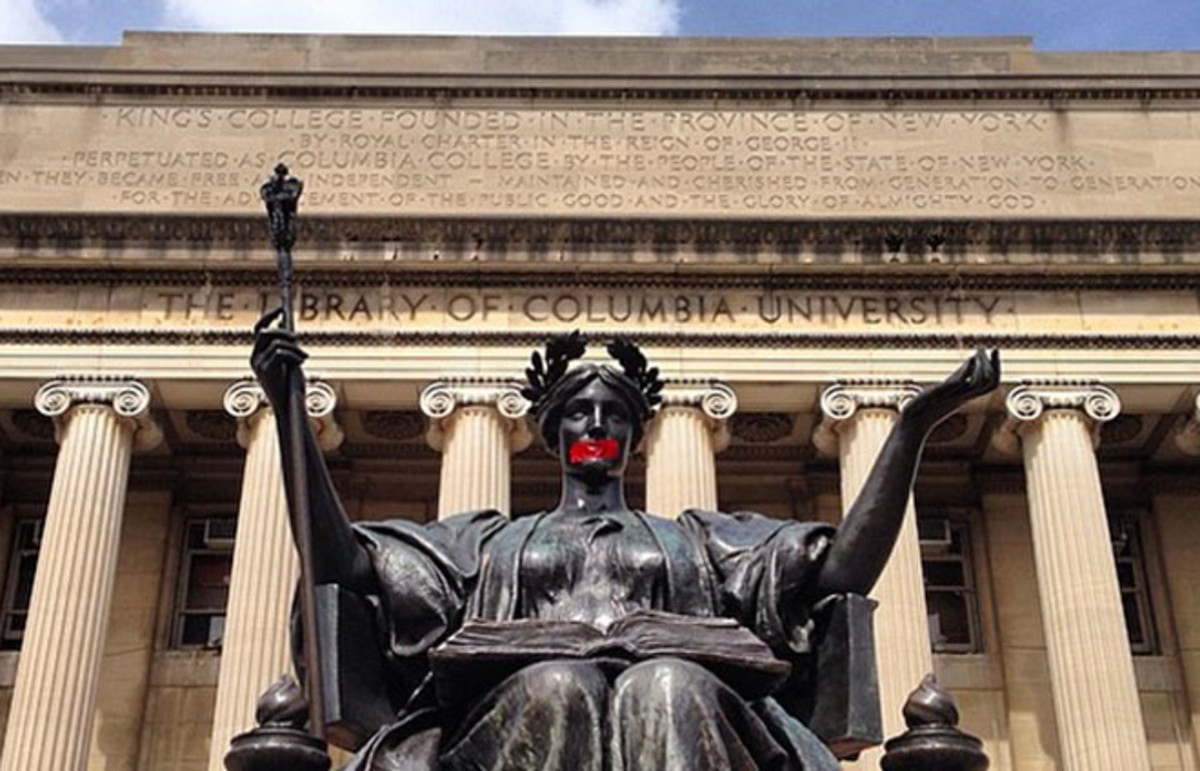 Columbia University's Alma Mater statue marked with red tape in support of victims of sexual assault. (Photo: Eric Vaughn/Instagram)