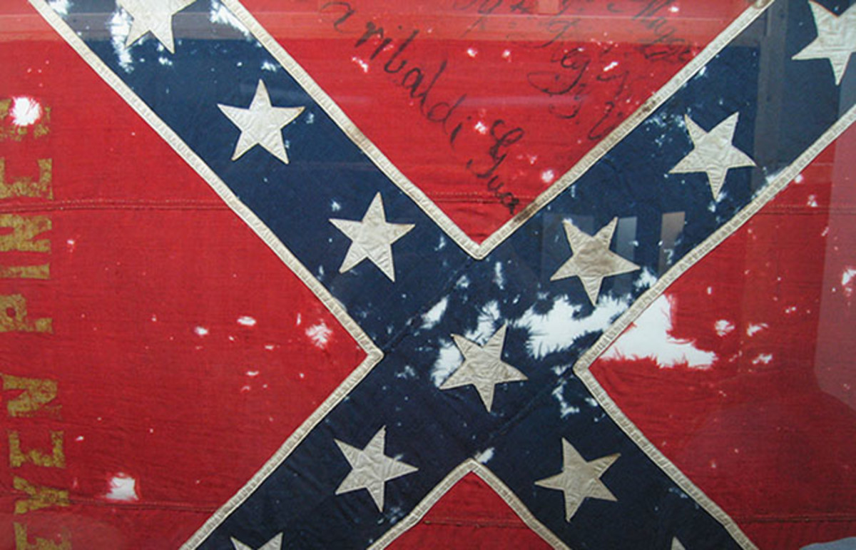 The battle flag used during Pickett's Charge on the third day at Gettysburg sits in the Museum of the Confederacy in Richmond, Virginia. (Photo: Pablo Sanchez/Flickr)