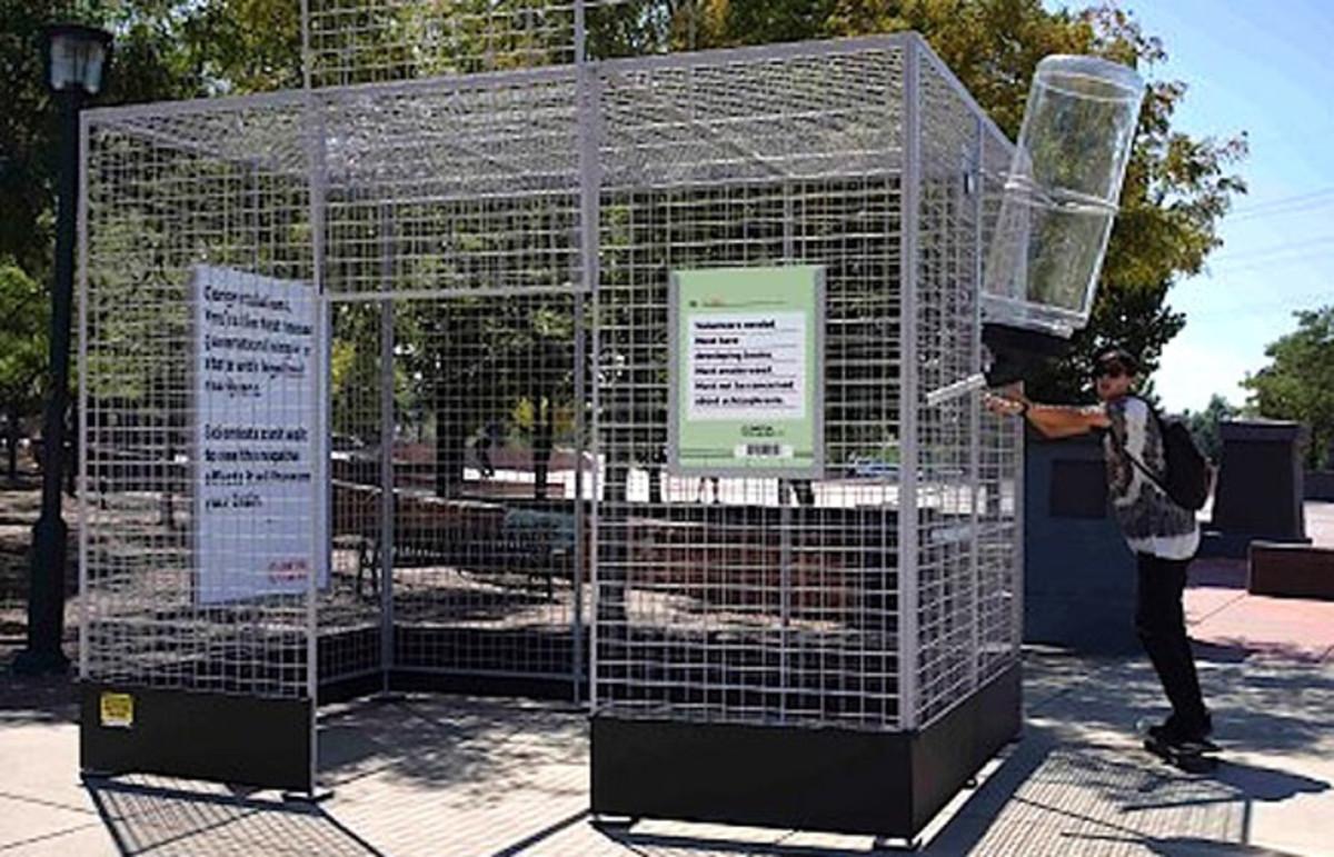 "A ""Don't be a lab rat"" cage at the Denver Skate Park. (Photo: Substance)"