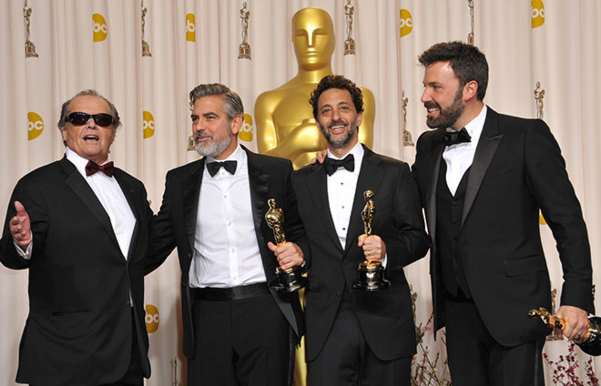 Jack Nicholson, George Clooney, Grant Heslov, and Ben Affleck at the 2013 Academy Awards. (Photo: Featureflash/Shutterstock)