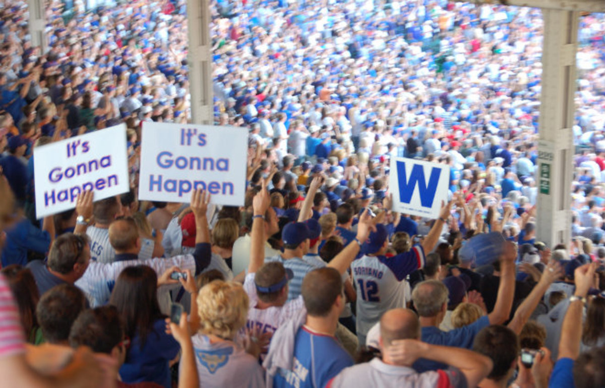 Chicago Cubs fans celebrate after clinching a playoff berth in 2008. They were swept in the first round. (Photo: dherholz/Flickr)