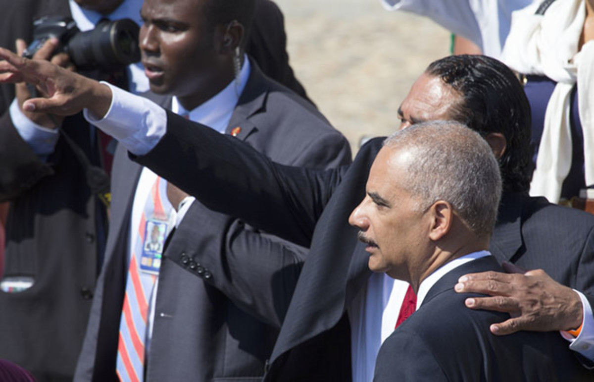 U.S. Attorney General Eric Holder Jr. at the 50th Anniversary of the March on Washington. (Photo: Visions of America/Shutterstock)