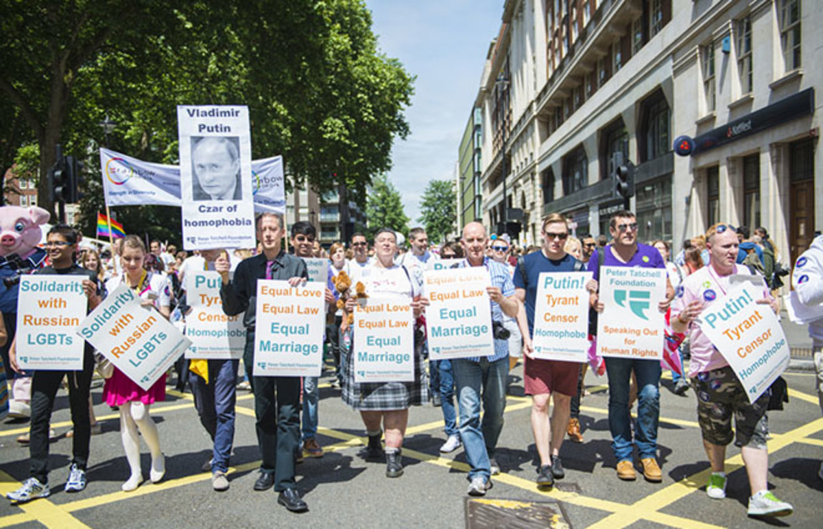 A gay pride march in London. (Photo: Nando Machado/Shutterstock)