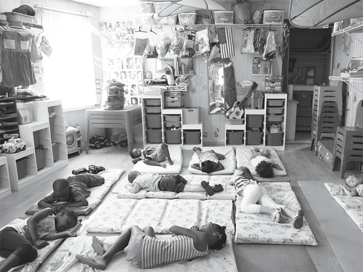 In New Rochelle, New York, boys and girls at Dee's Tots Childcare—open around the clock—nap on mattresses atop yoga mats. Some nights, half a dozen kids sleep over at Dee's.