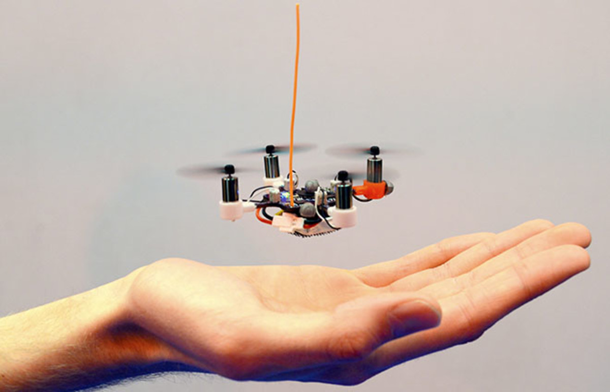 The tall orange antenna in this dated version of the pico quadrotor UAV is now integrated into the device, making it even smaller. (Photo: Yash Mulgaonkar)