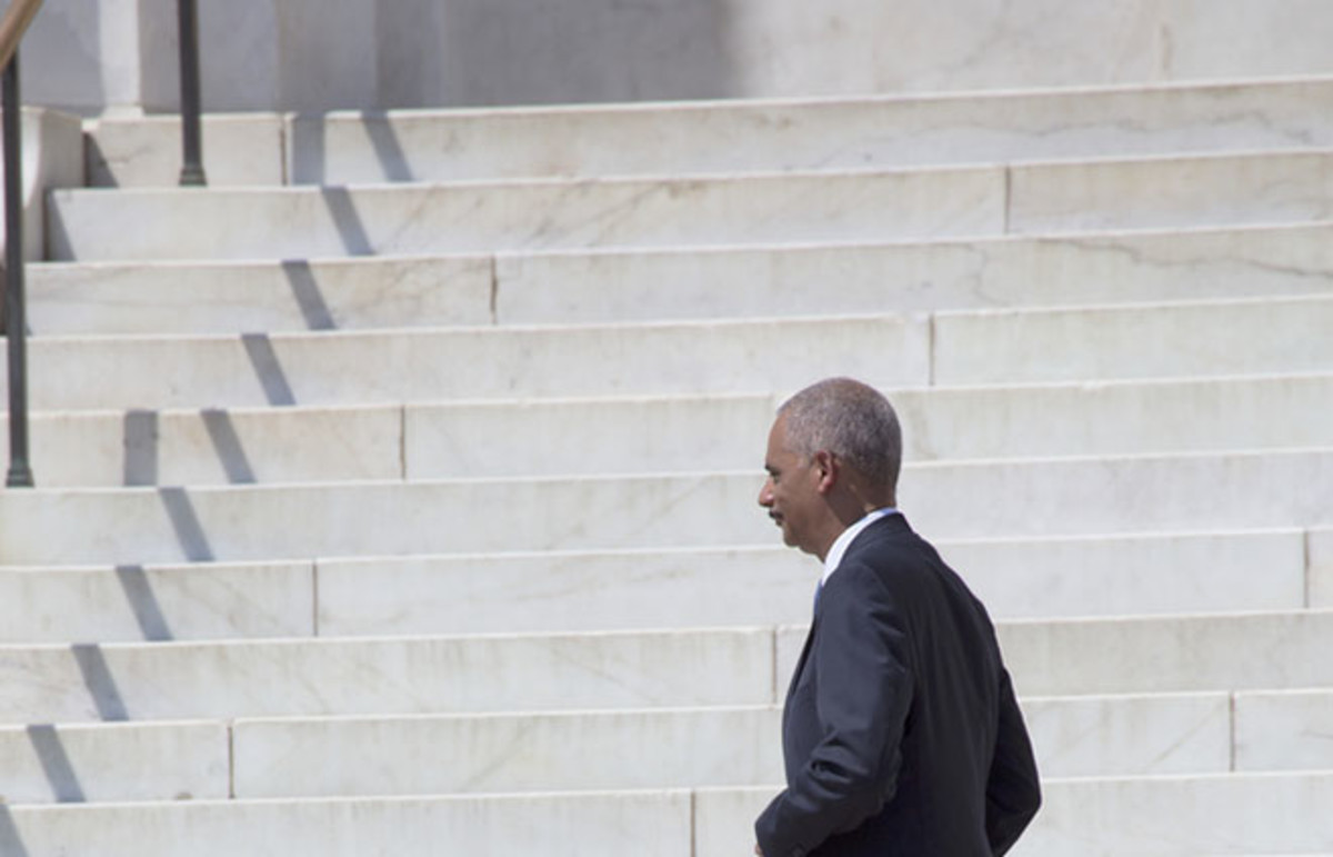 U.S. Attorney Eric Holder Jr. walking from the podium at the 50th Anniversary of the March on Washington. (Photo: American Spirit/Shutterstock)