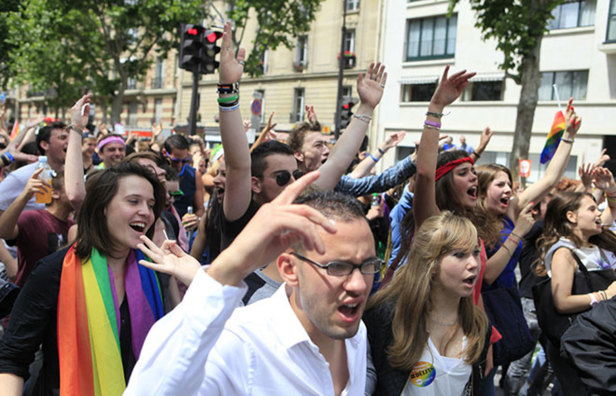 Protesters marching for gay rights in Paris, France. (Photo: photogolfer/Shutterstock)