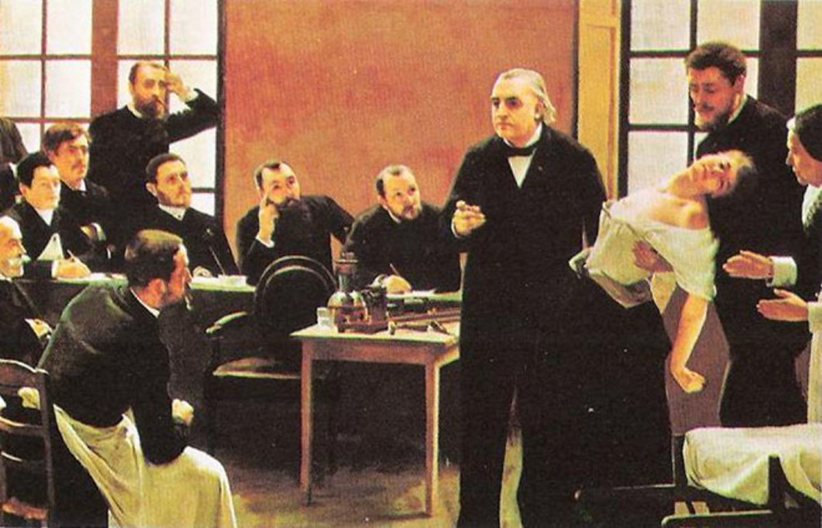 Professor Jean-Martin Charcot demonstrates hypnosis on a