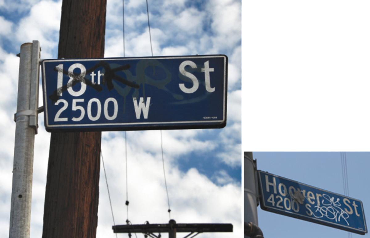 SIGNS OF THE TIMES: Streets that were made notorious by the gangs that took their name. (Photo: Sam Quinones)